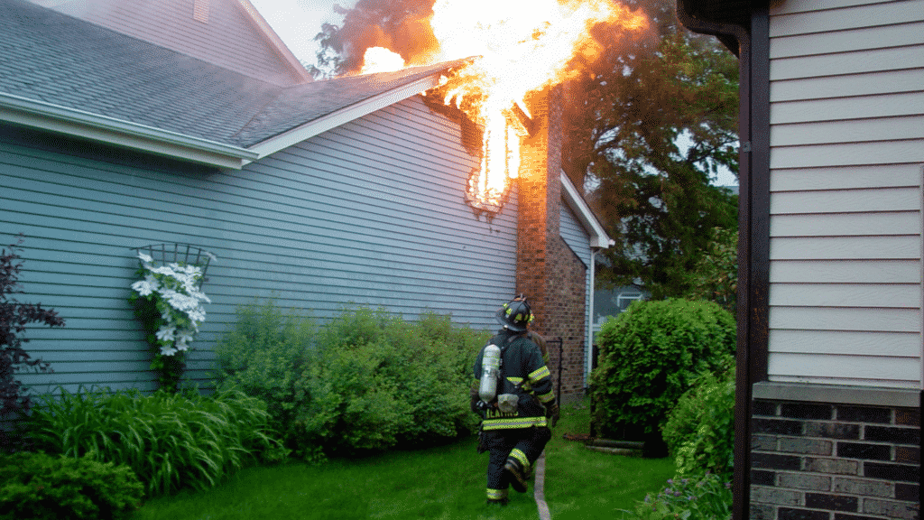 firefighters preventing fire from house neglecting Dallas chimney services