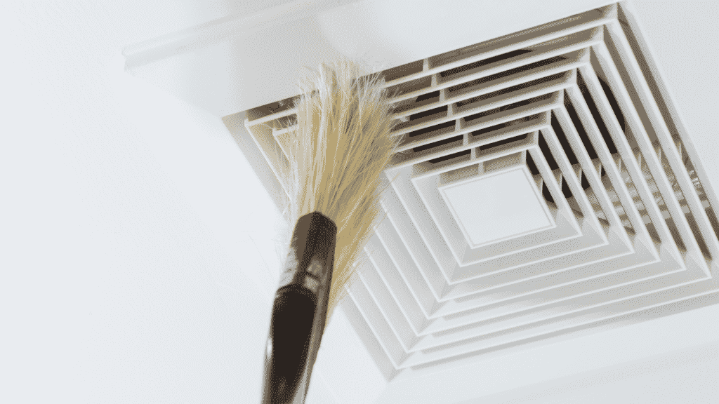DIY air duct cleaning with brush